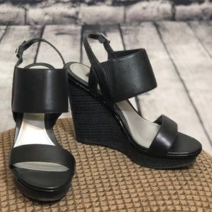 7 Black Leather  Wedges White House Black Market